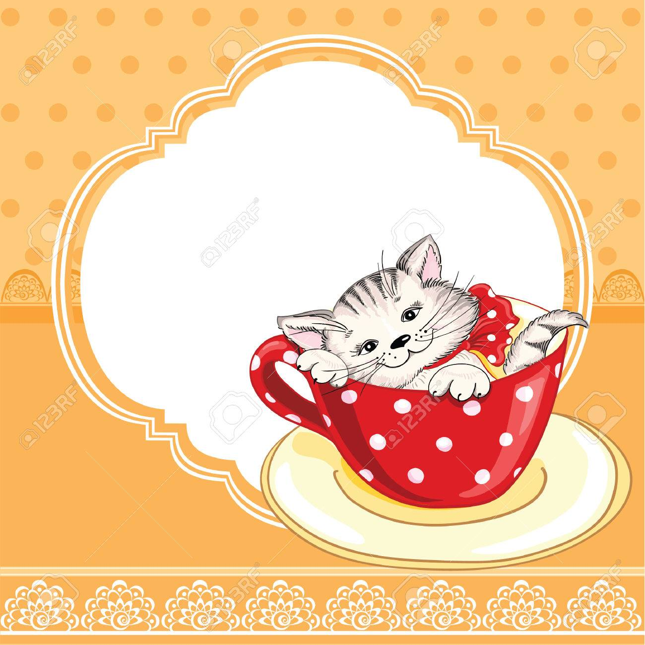 Vintage Birthday Card With Funny Cat On A Lace Background And