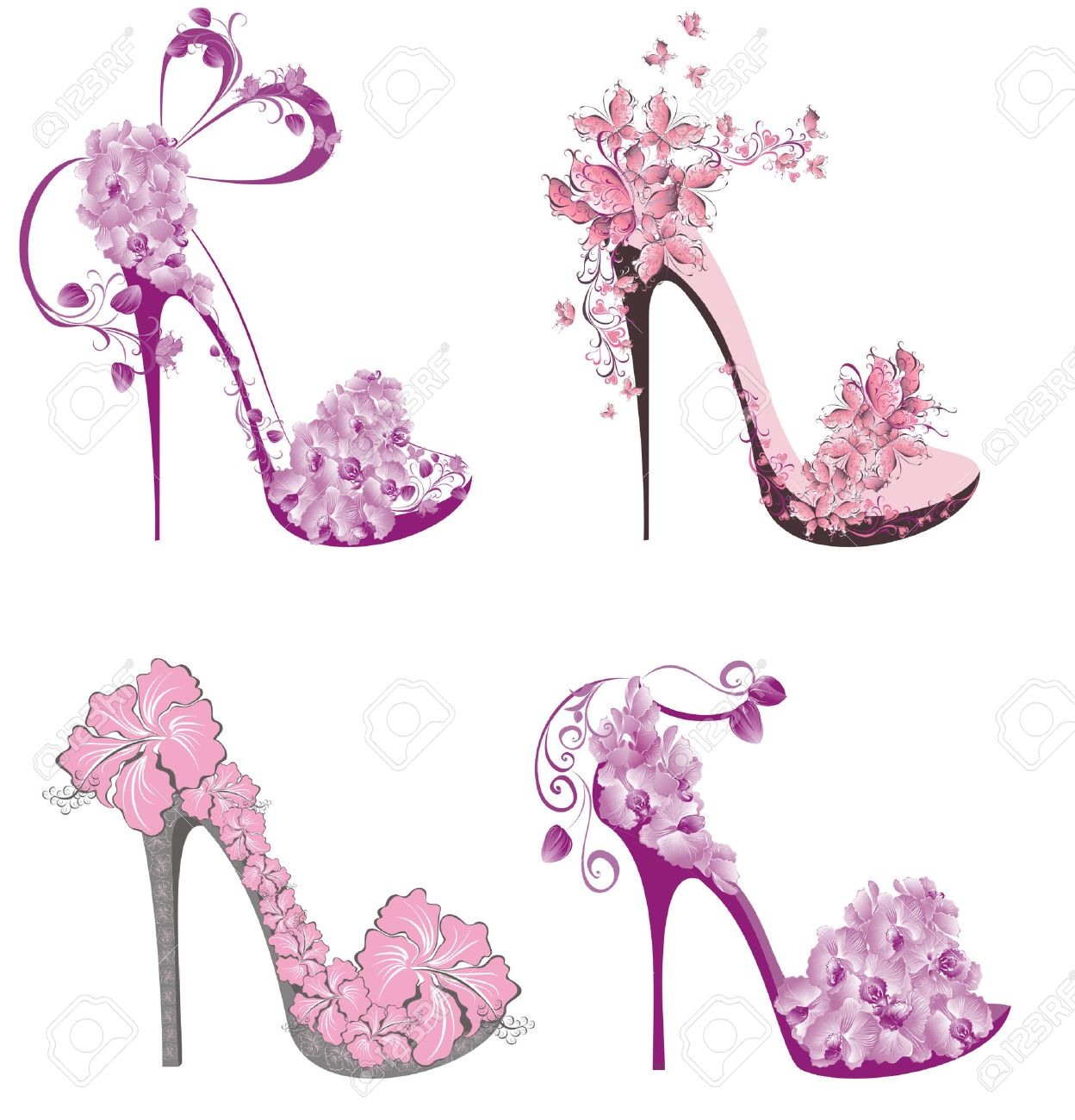 Collection Shoes On A High Heel Decorated With Flowers And