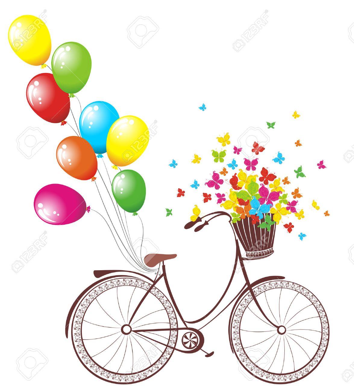 Carte Romantique D Anniversaire Velos Avec Des Ballons Et Panier Plein De Fleurs Et De Papillons Clip Art Libres De Droits Vecteurs Et Illustration Image 25407271