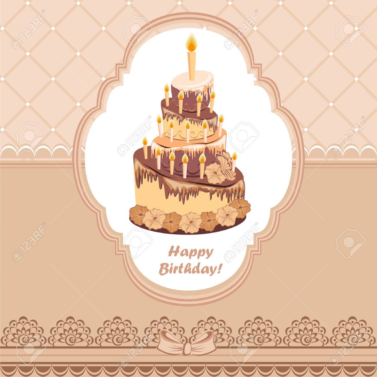 Beautiful Vintage Card On Birthday With Chocolate Cake Royalty Free