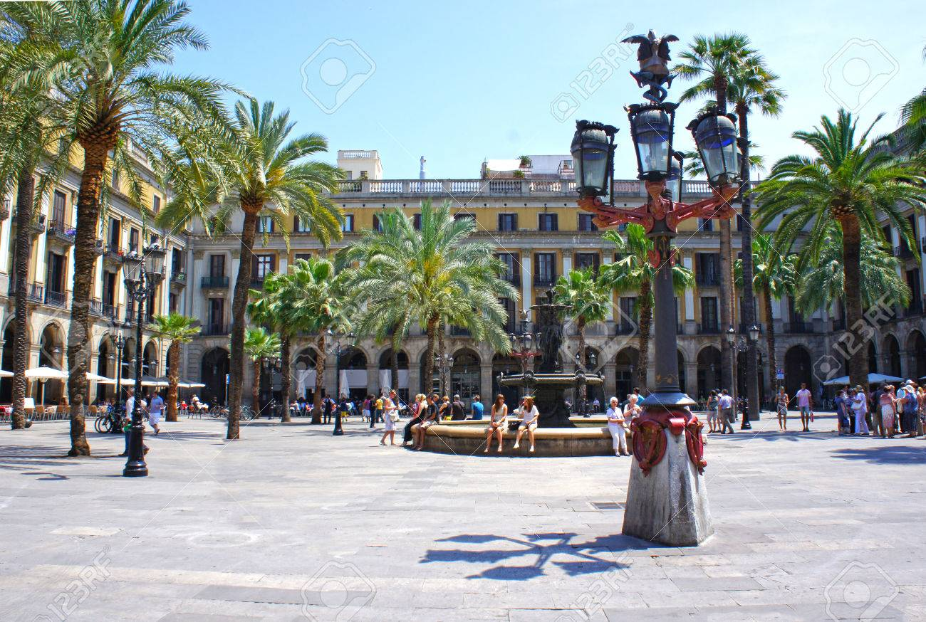 Plaza Real Is A Square In The Gothic Quarter In Barcelona, Spain ...
