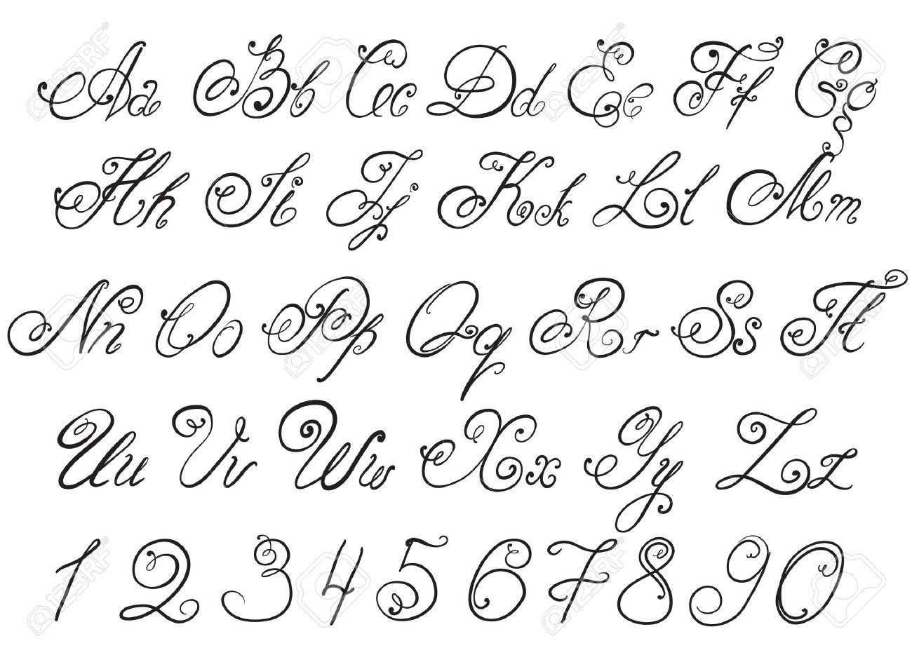 Calligraphie Lettre vecteur tiré par la main de calligraphie des lettres tirées alphabet
