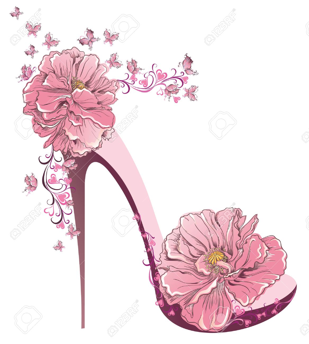 High Heels Vintage Shoes With Flowers Royalty Free Cliparts Vectors