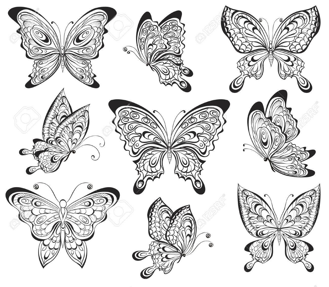 Dessin Papillon Tatouage vector set de noir et blanc papillons calligraphiques isolé sur fond