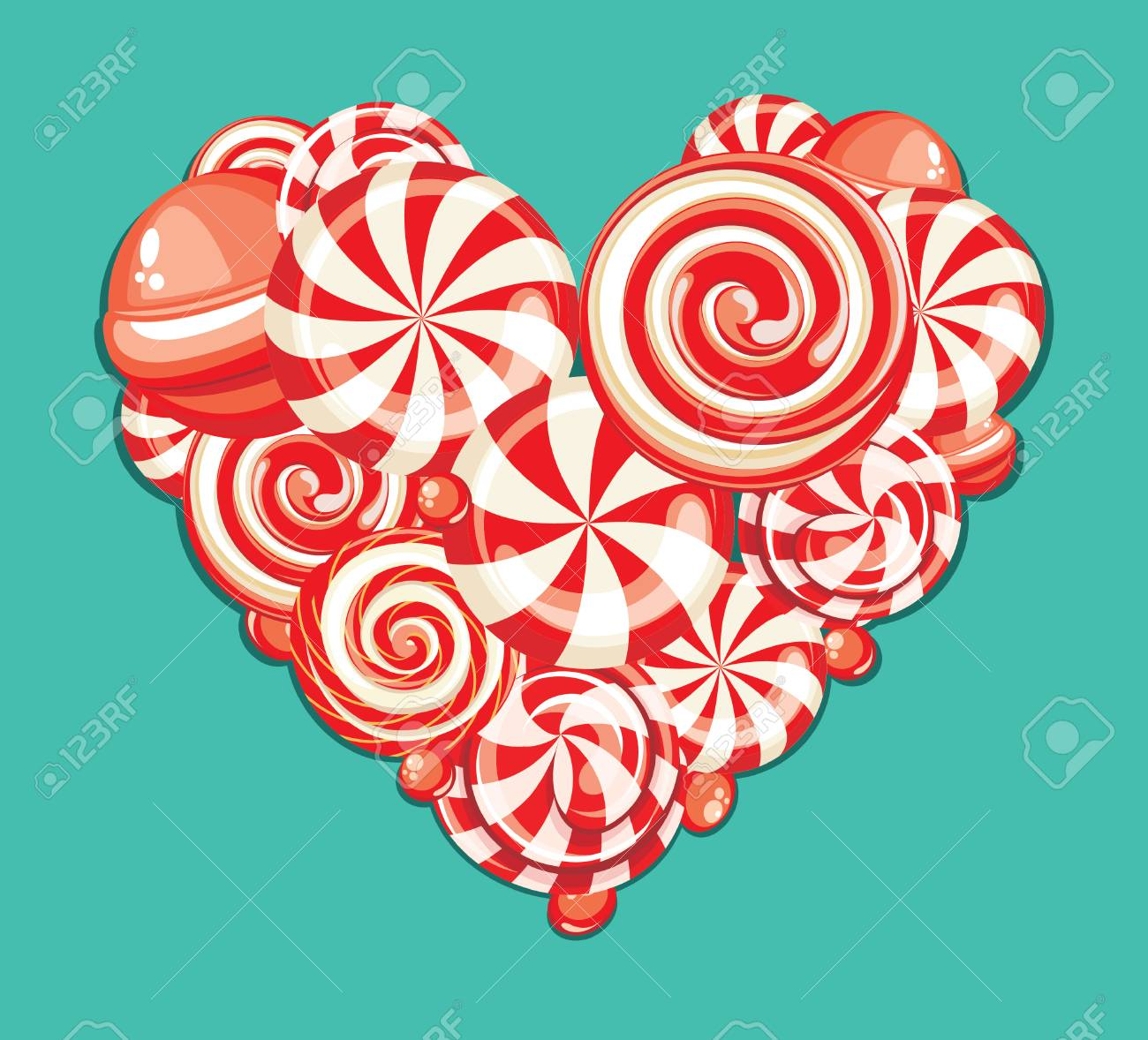 Valentines day greeting card with heart shaped sweet candy valentines day greeting card with heart shaped sweet candy lollipops stock vector 35652469 m4hsunfo