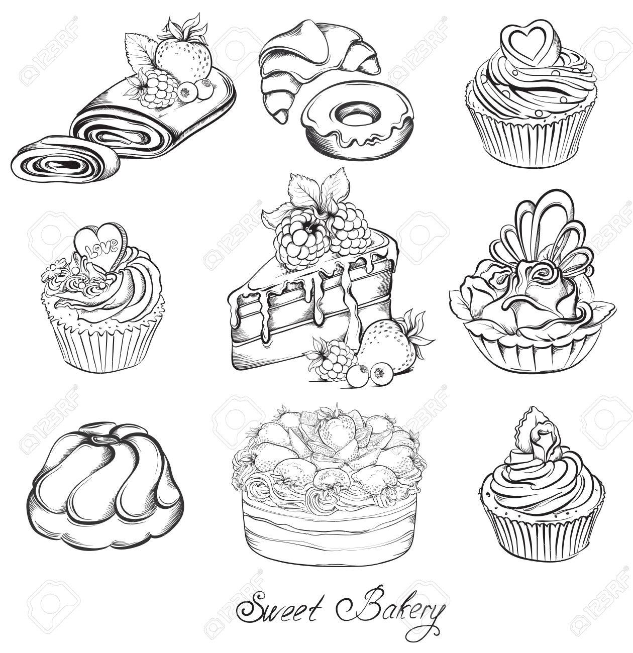 Collection Hand drawn of various beautiful Cakes and Cupcakes. Sketch Vector illustration. - 37313177