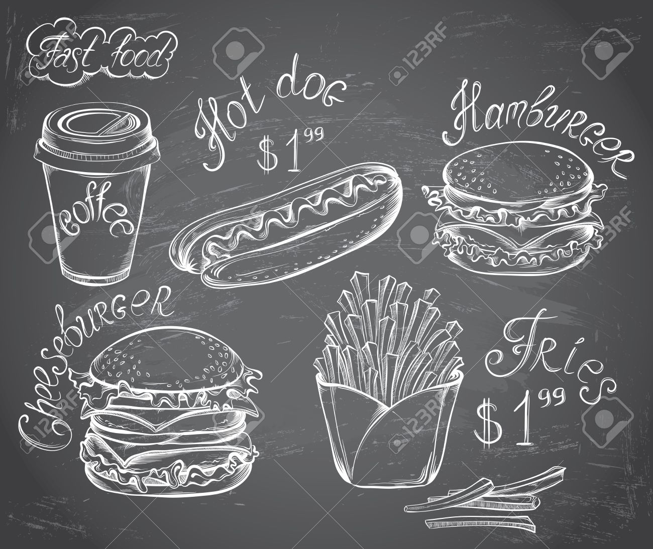 Vector hand drawn set of Retro Fast Food Menu with price on chalkboard in vintage style - 37313261