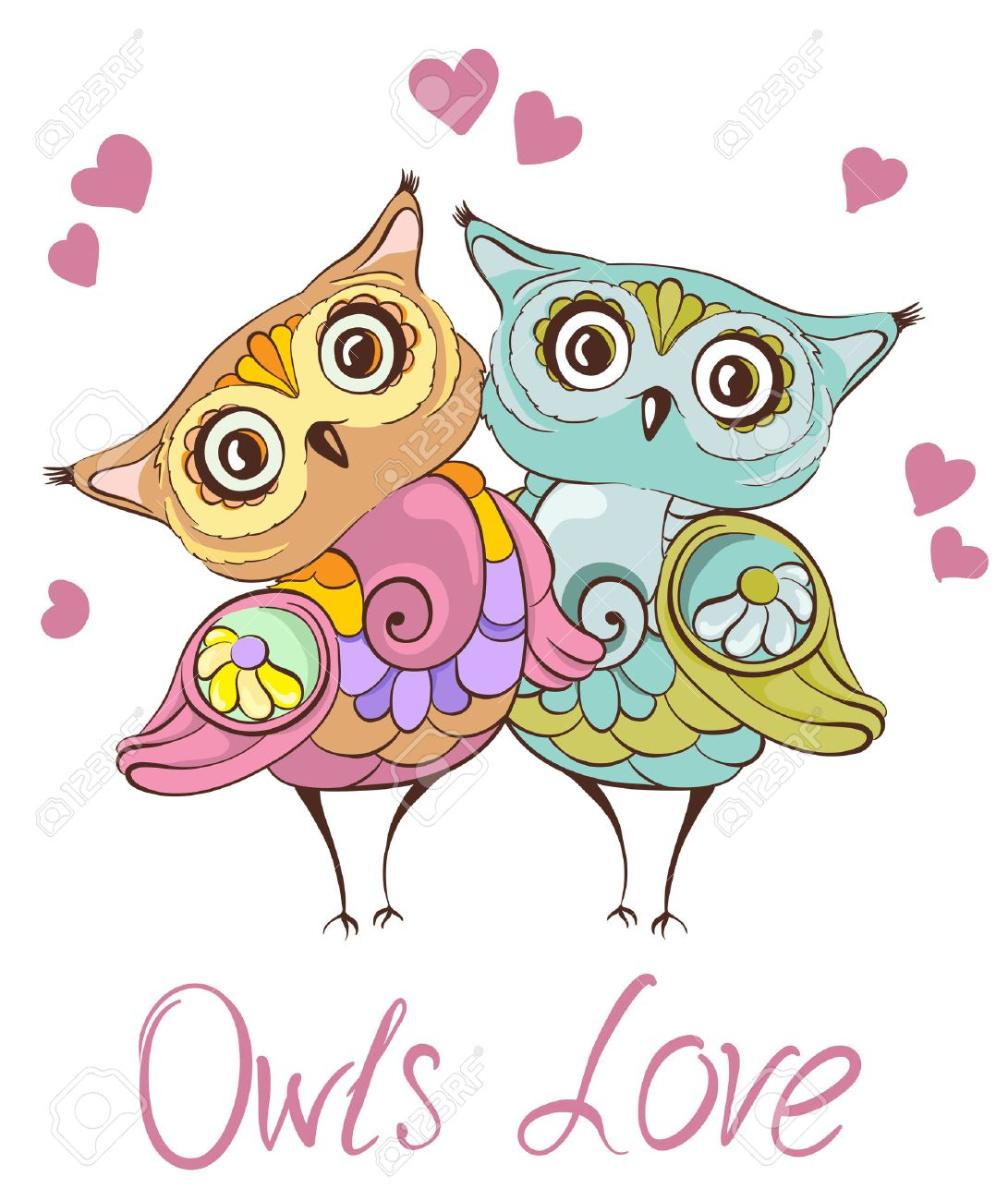 Love birds. Greeting card with cute owls couple. Vector hand drawn illustration - 37313293