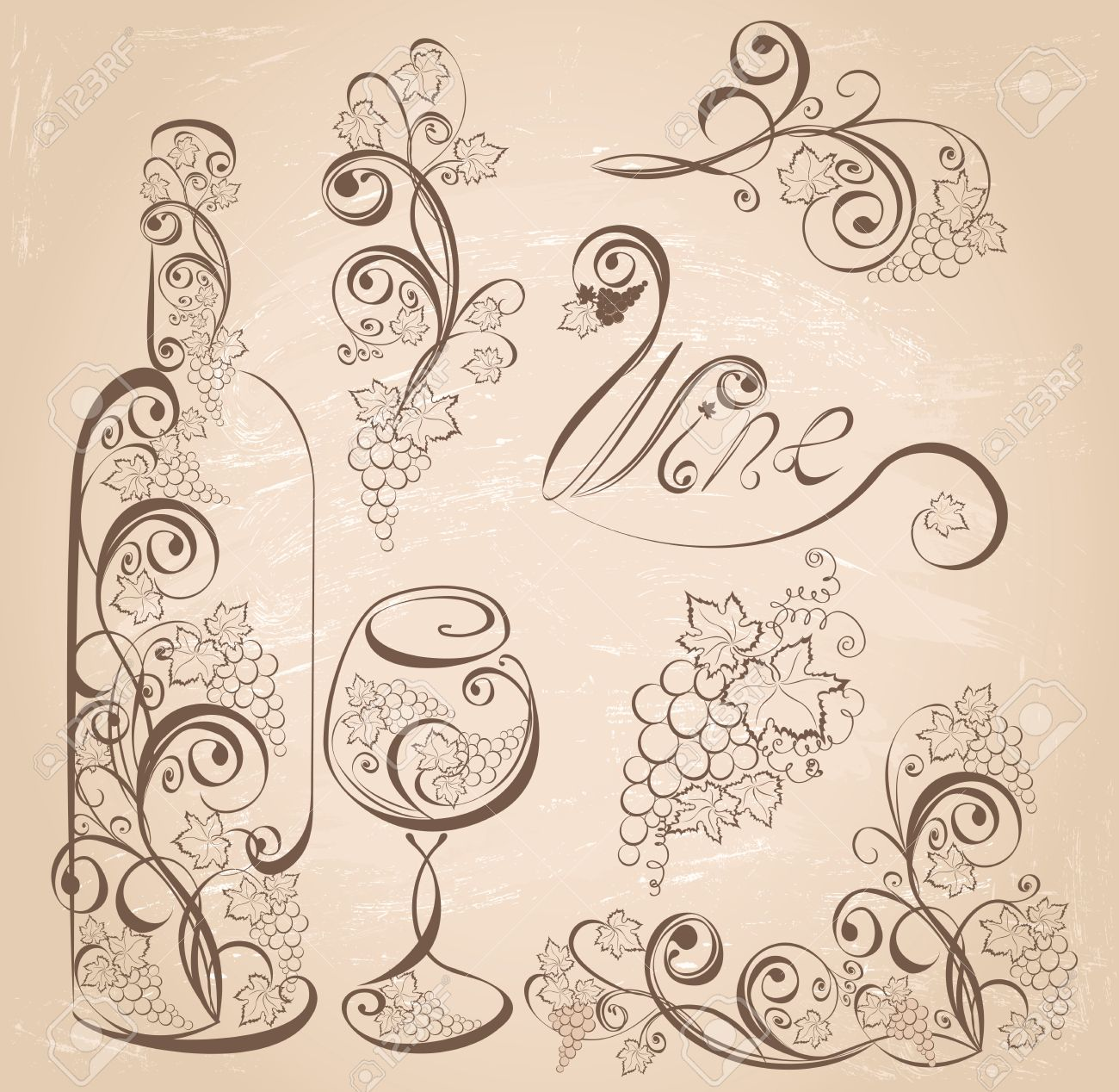 Vector wine design elements. Wine bottle and wineglass with grapevines on vintage grunge background . - 37313302