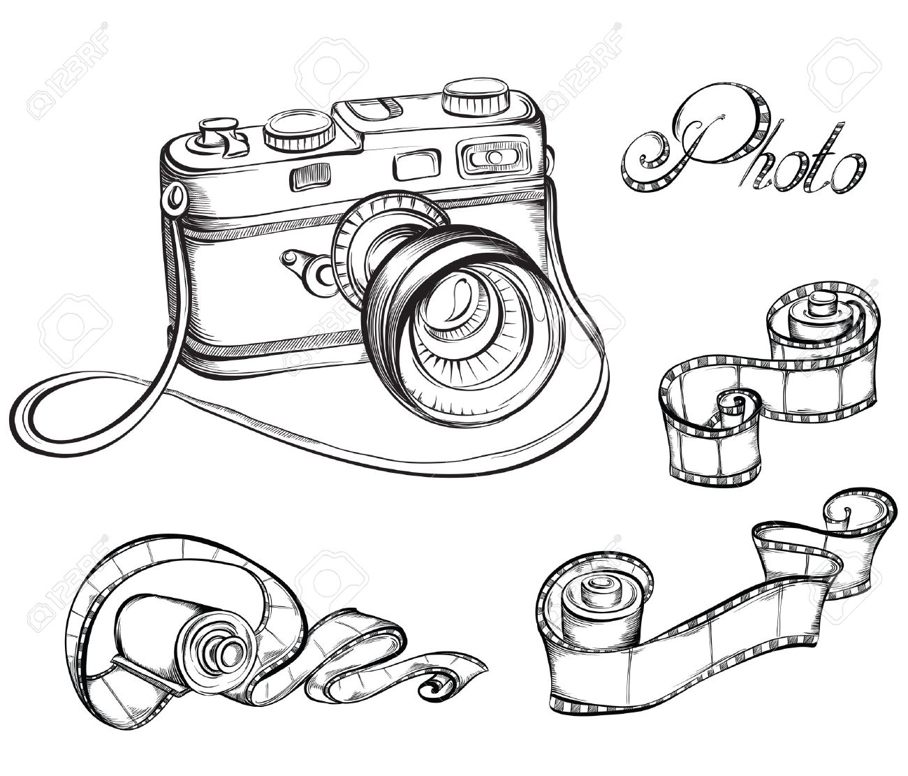 Collection of Film strip roll and retro camera. Hand drawn vector illustration. - 40460581