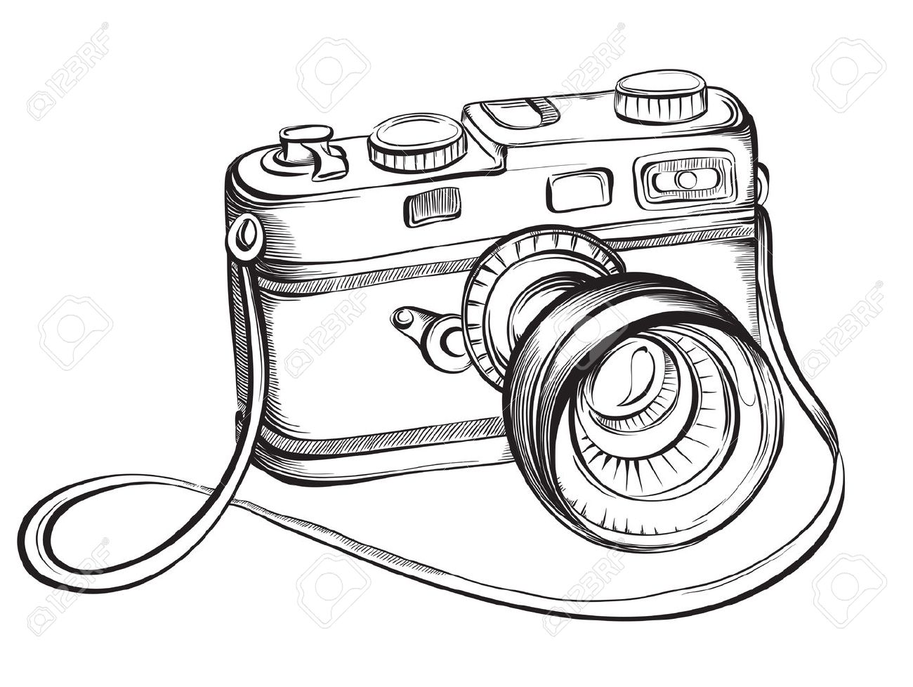 Sketch Vintage Retro Photo Camera Vector Hand Drawn Illustration Stock