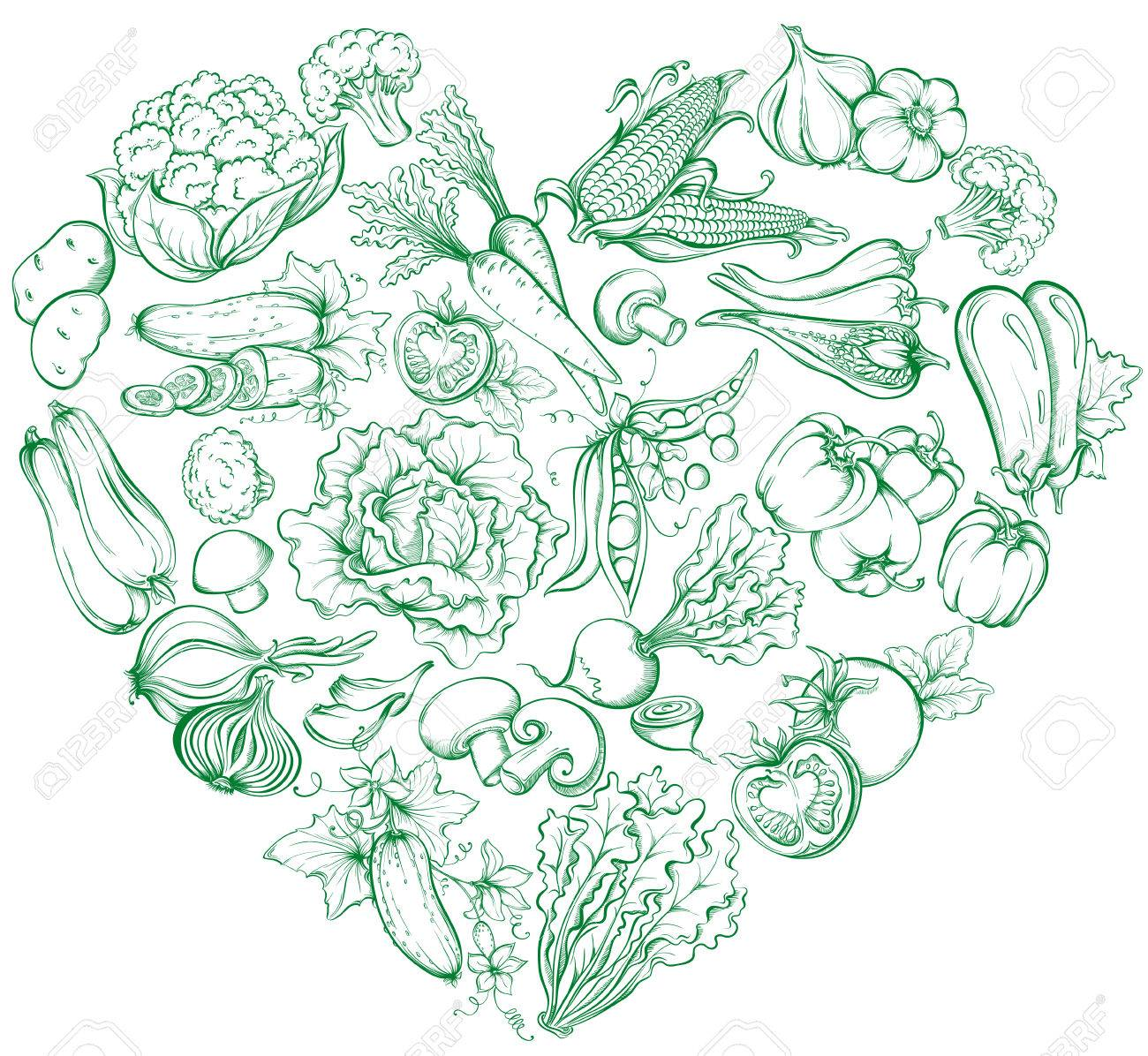 Icons of various vegetables in the form of heart shape. Vector hand drawn illustration of vegetables in retro style - 40460634