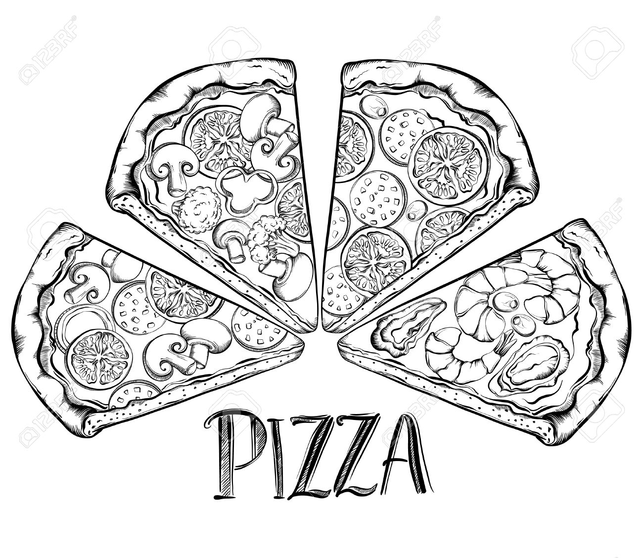 Poster design drawing - Poster With Hand Drawn Slice Of Pizza Design A Menu Stylized Drawing Vector Illustration