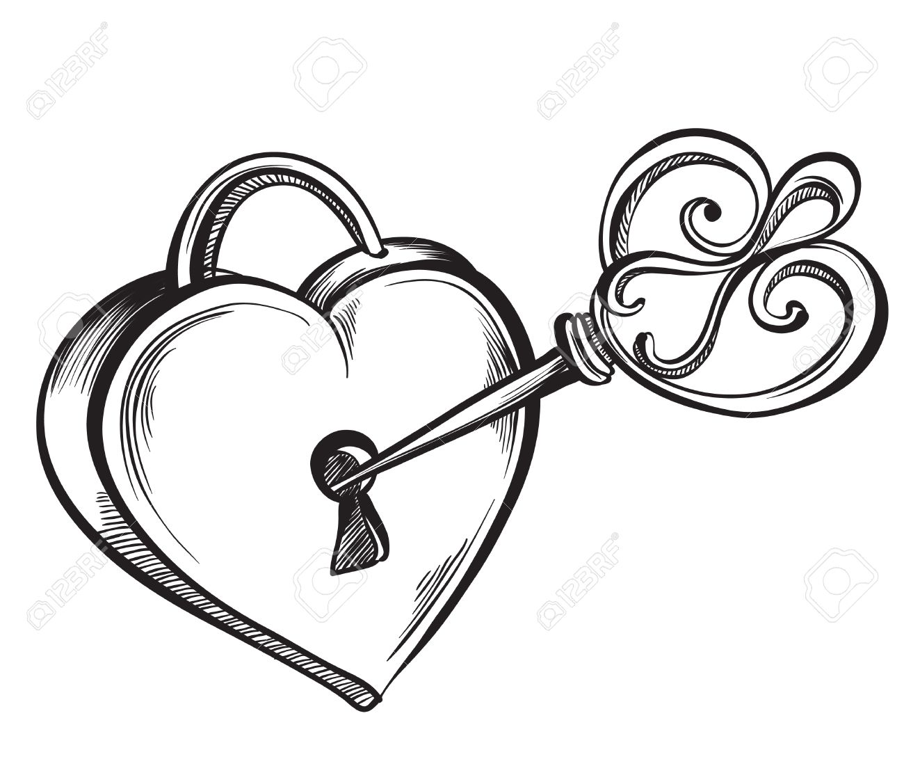 Valentine heart. Key lock in the shape of a heart. Hand drawn sketch style, vector illustration. - 53584971