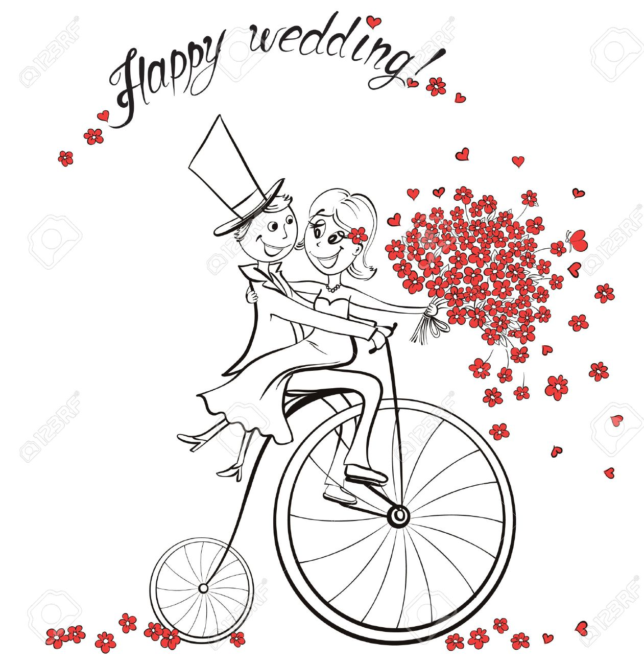 Just married. Hand drawn wedding couple in love on bicycle. Cute cartoon vector illustration - 53584973