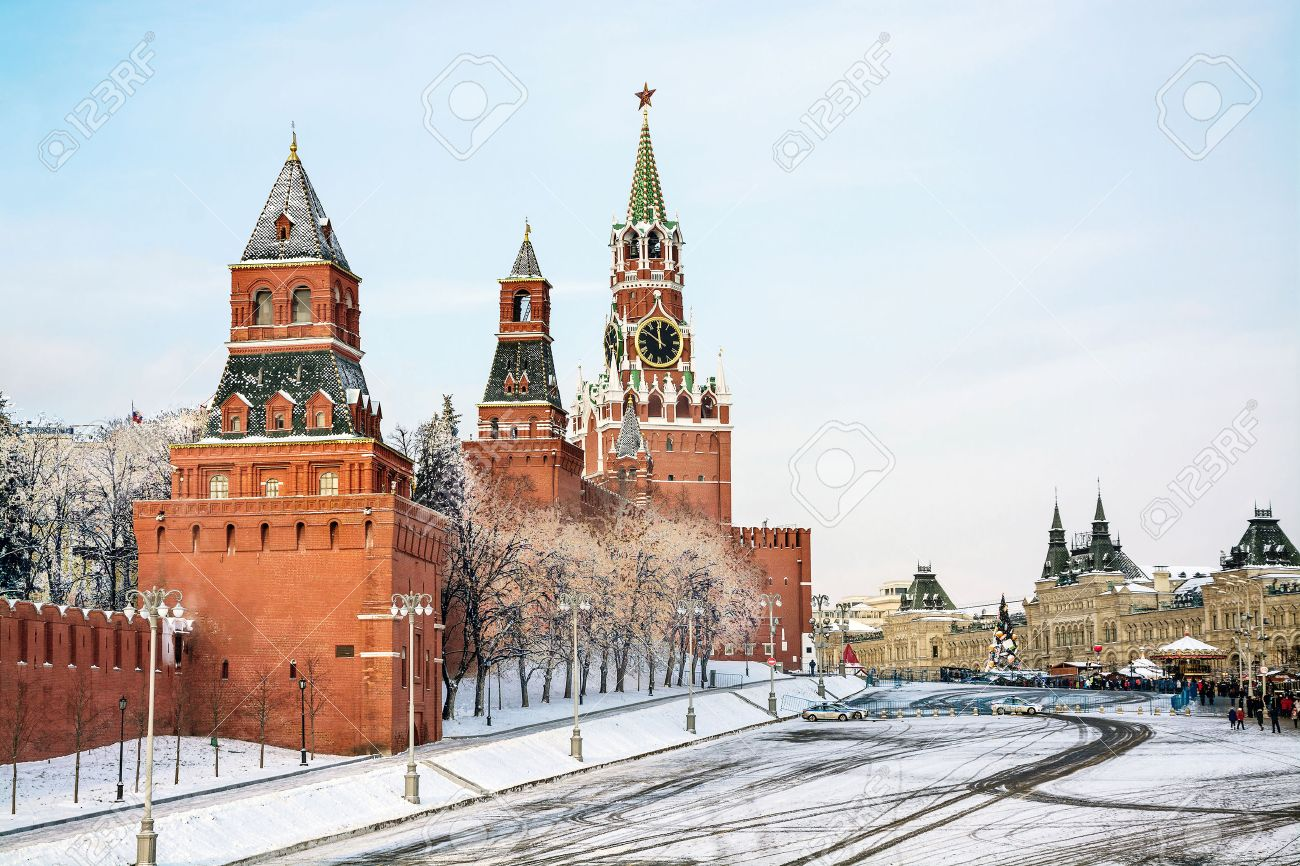 Moscow, Russia, Red Square, GUM and Kremlin towers in winter - 53585459