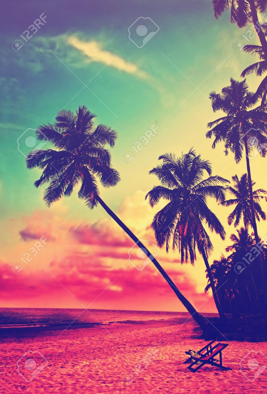 Beautiful Tropical Beach With Silhouettes Of Palm Trees At Sunset Stock Photo