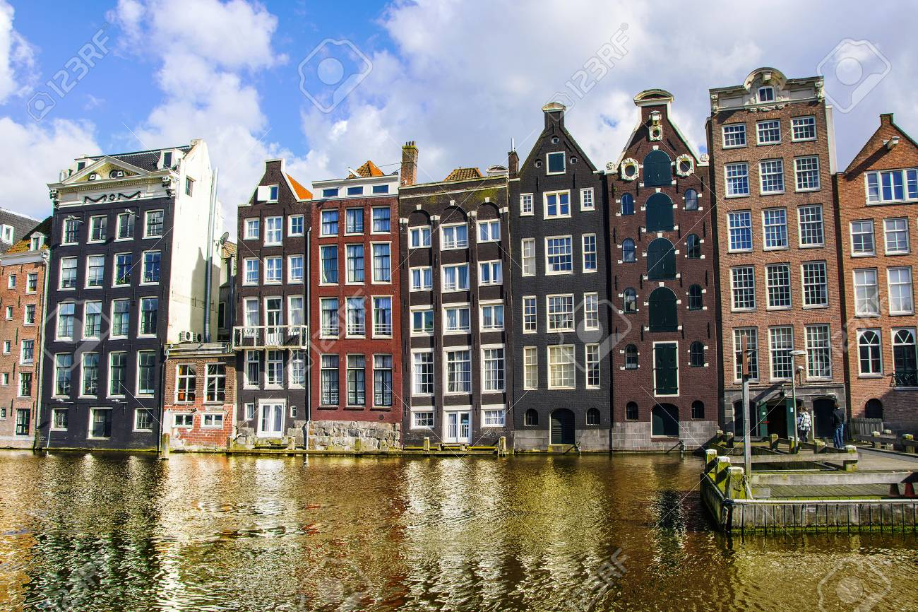 Wonderful View On Traditional Old Dutch Houses In Amsterdam Stock