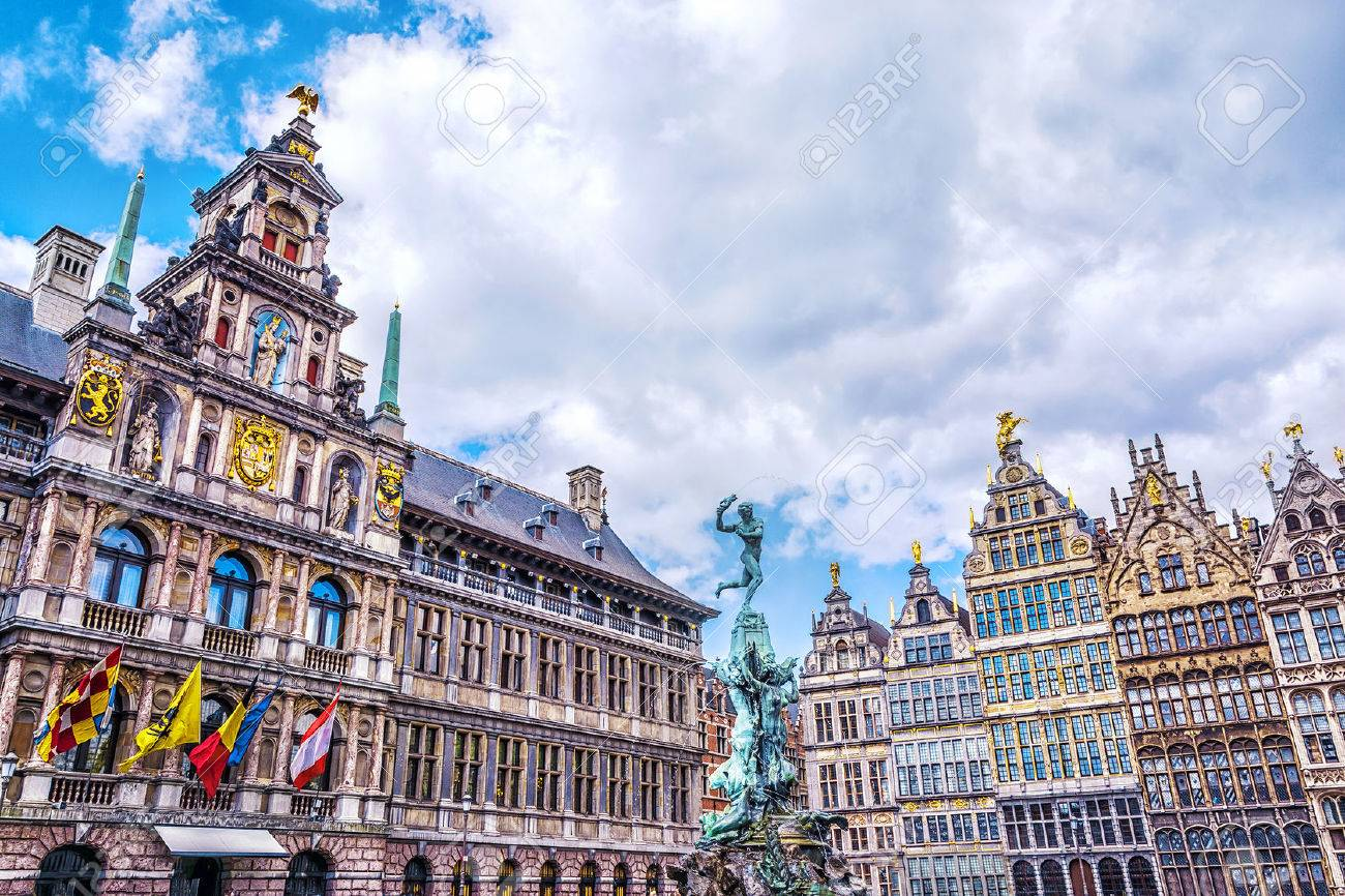 Grote Markt square with famous Statue of Brabo and medieval guild houses in Antwerp, Belgium - 63950658
