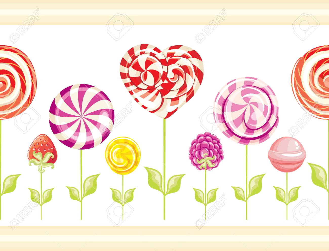 Seamless Wallpaper Border With Abstract Flowers With Sweet