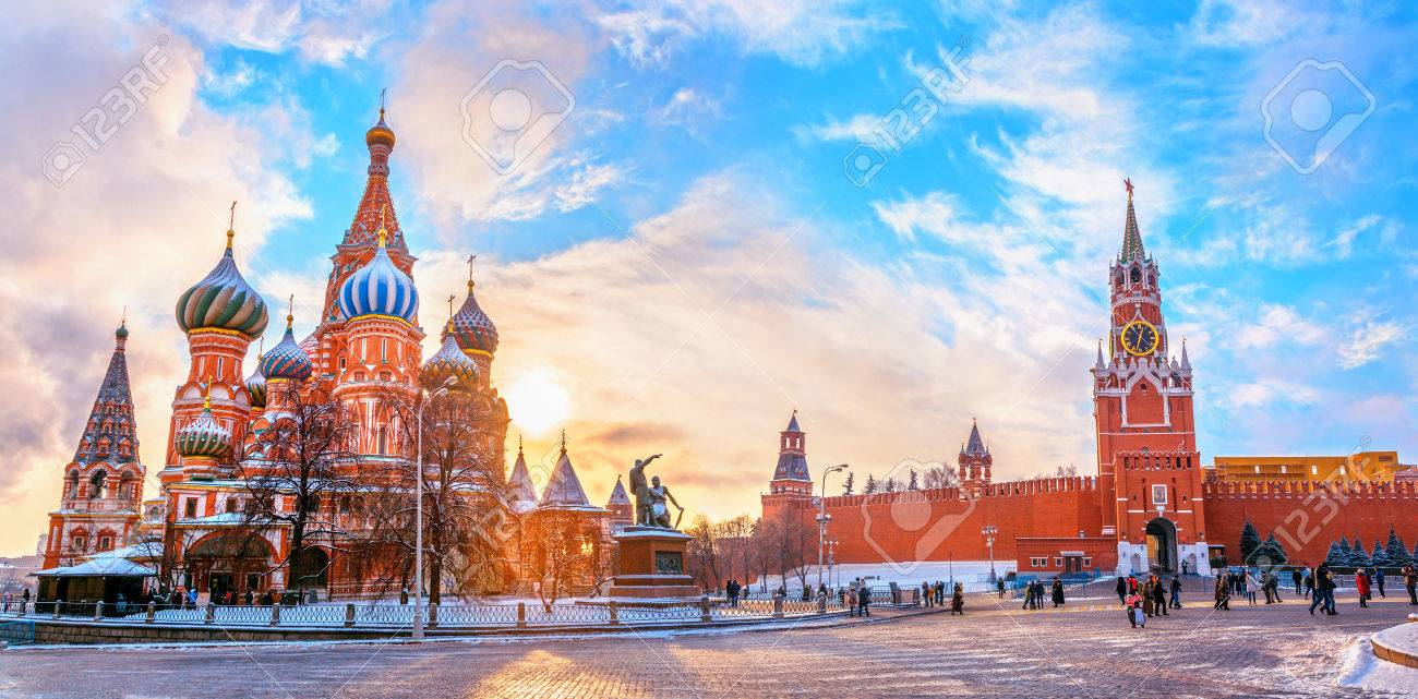 View of the Moscow Kremlin and Cathedral of St. Basil at the Red Square at sunset winter in Moscow, Russia - 81215618