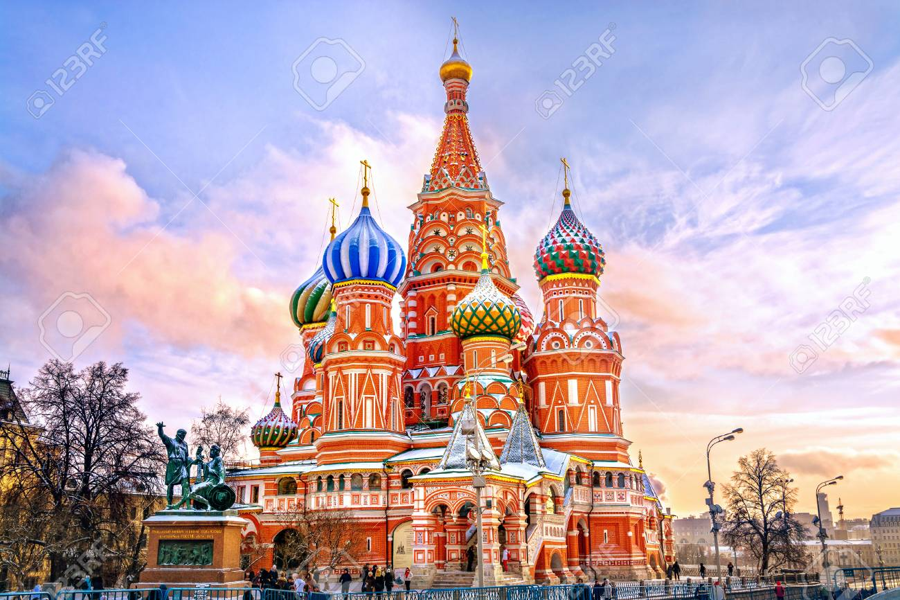 Saint Basil's Cathedral in Red Square in winter at sunset, Moscow, Russia. - 81215616