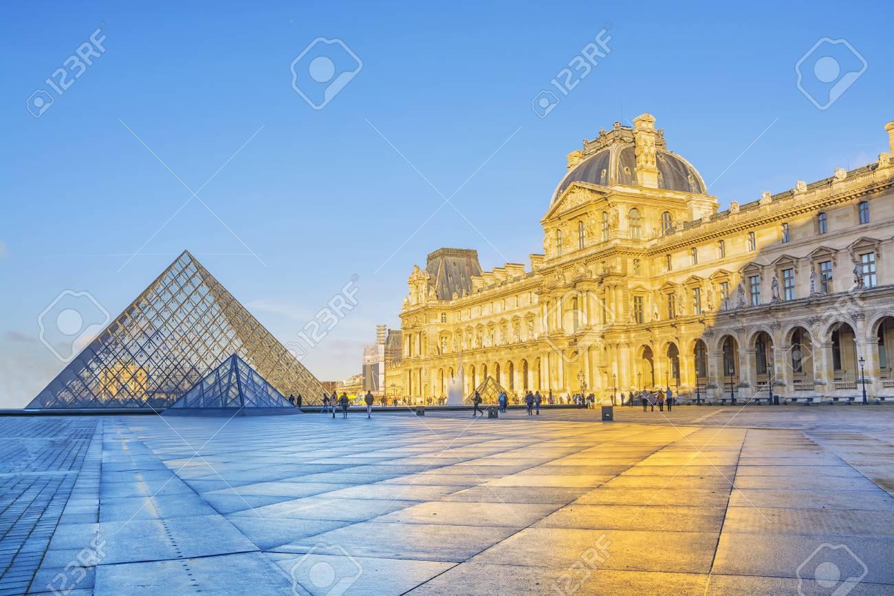 paris france december 10 2016 view of famous louvre museum