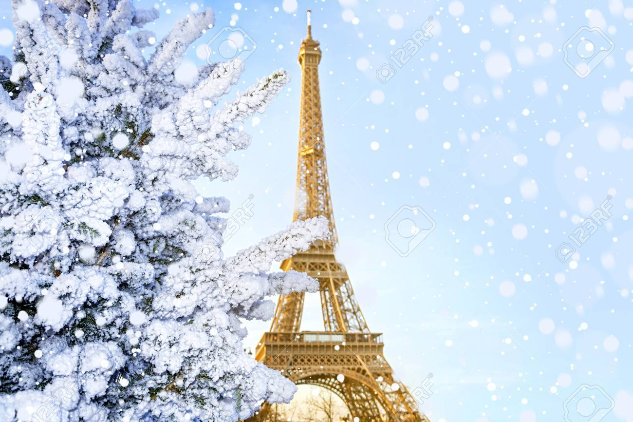 Eiffel Tower Is The Main Attraction Of Paris On The Background