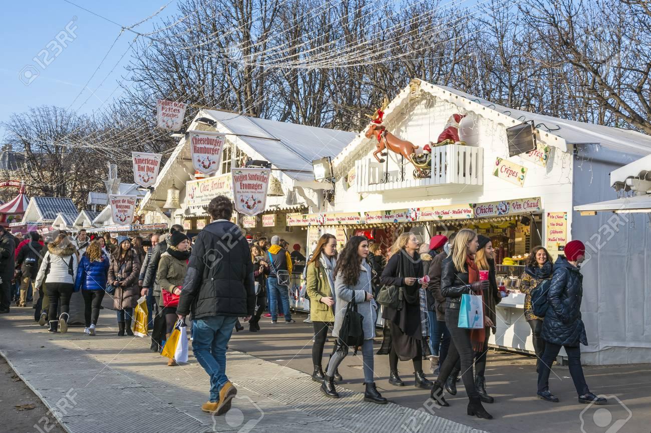 Paris Weihnachtsmarkt.Stock Photo