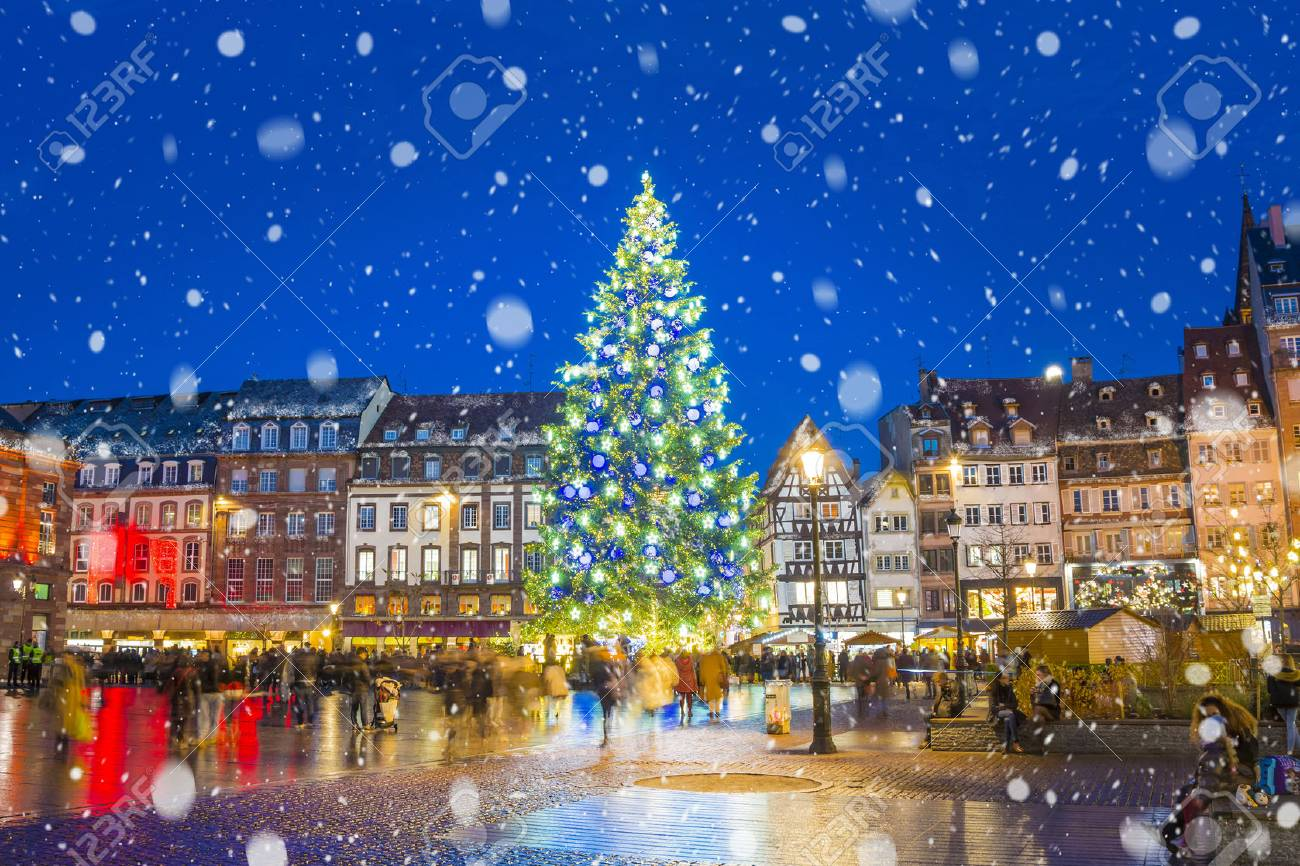 Christmas tree and xmas market at Kleber Square at night in medieval city of Strasbourg - capital of Noel, Alsace, France. - 89422570