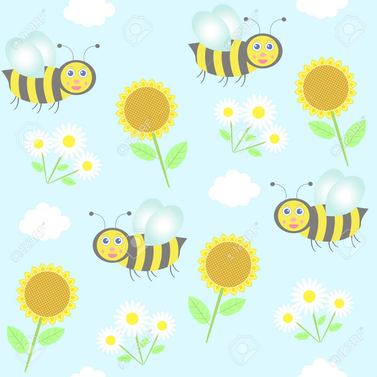background with bees, sunflowers and camomiles Stock Vector - 21160233