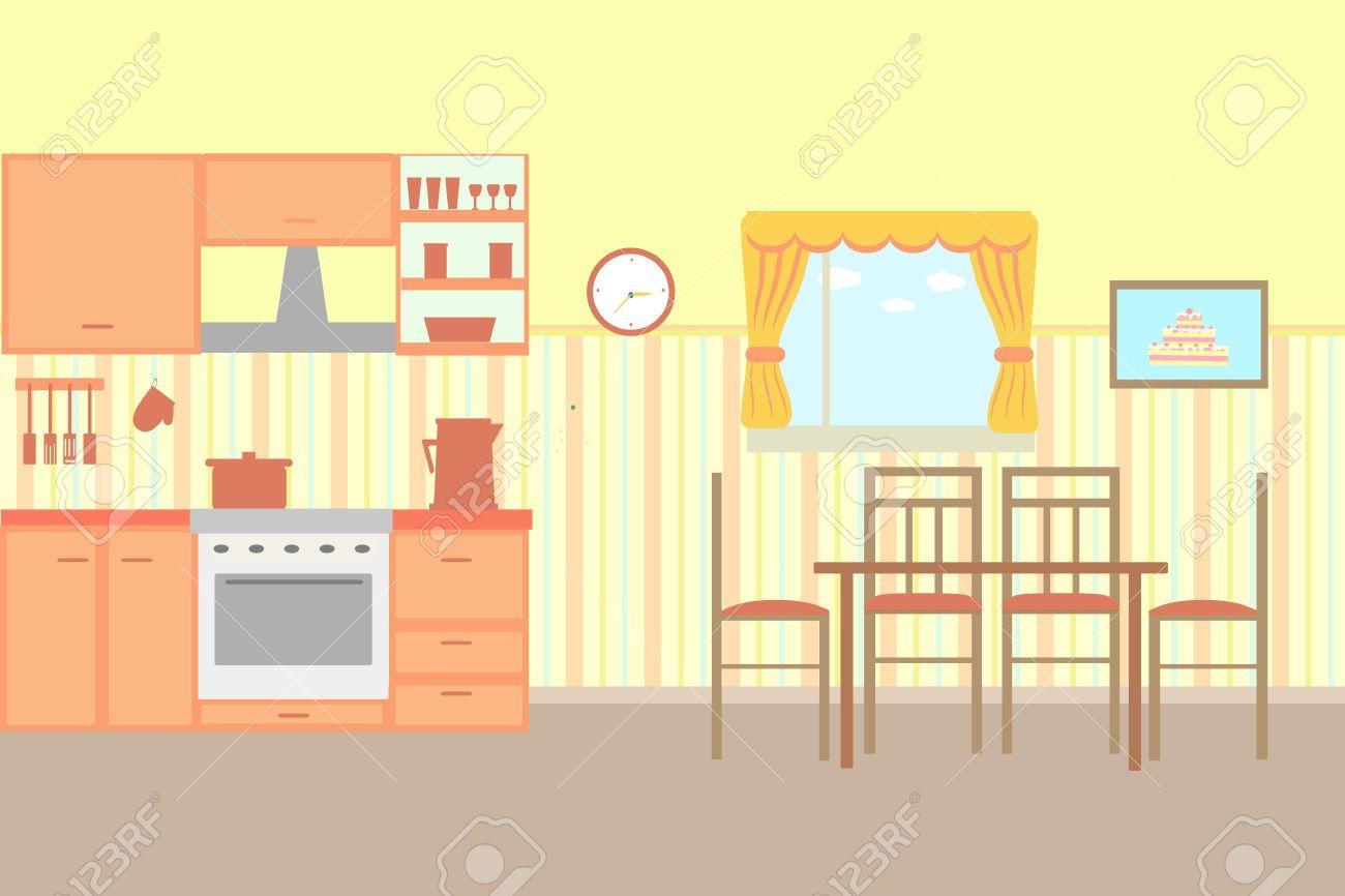 Ilustración De Dibujos Animados Cocina Con Muebles De Cocina ...