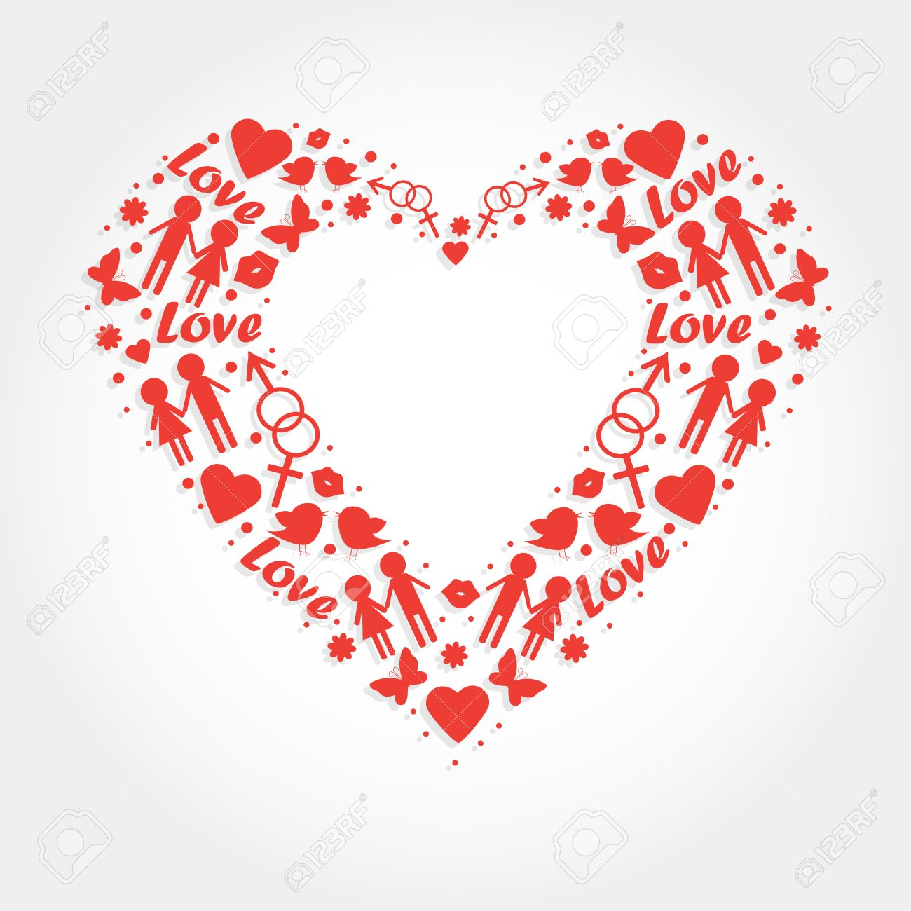 Heart with love symbols for wedding invitation valentines heart with love symbols for wedding invitation valentines day card stock vector 25993804 biocorpaavc Image collections