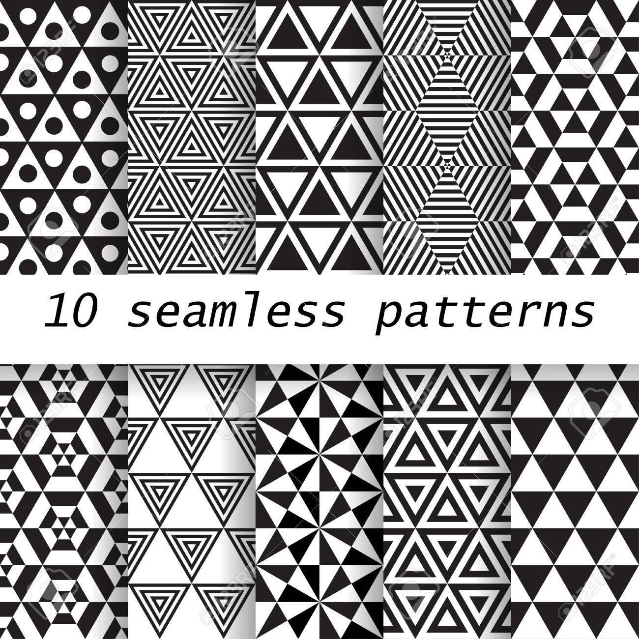 Tapetenmuster schwarz weiß  10 Schwarz-Weiß-Vektor Nahtlose Muster. Endless Textur Kann Für ...