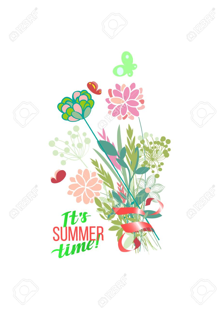 Vector Illustration Summer Themes Set Of Colour Plants The