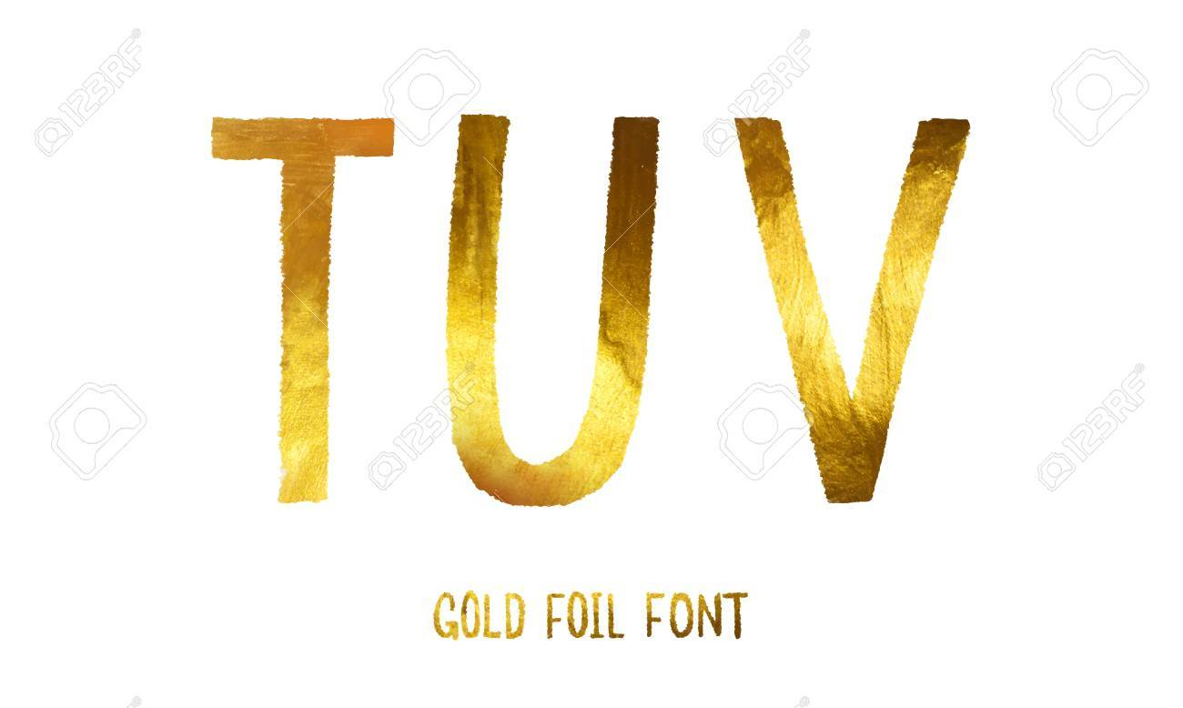 Golden alphabet letters T, U, V on a white background, glitter