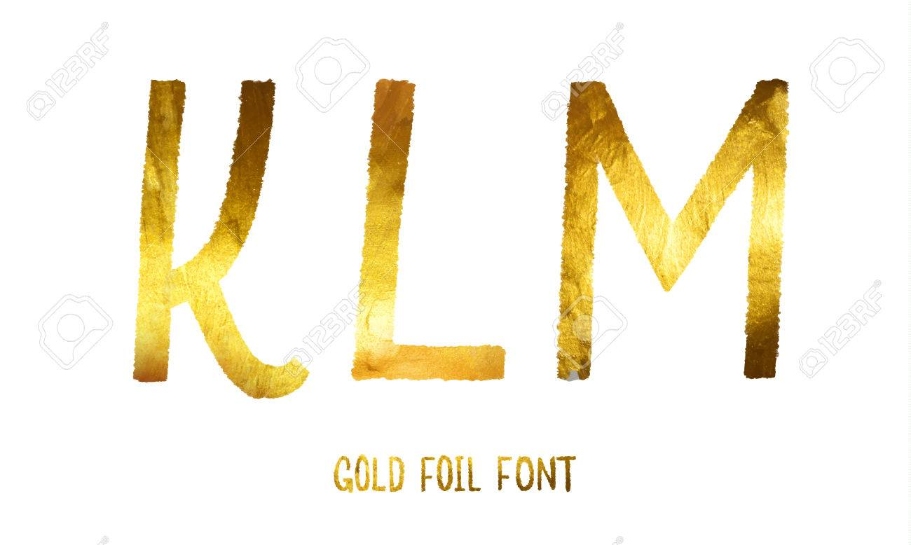 Golden alphabet letters K, L, M on a white background, glitter