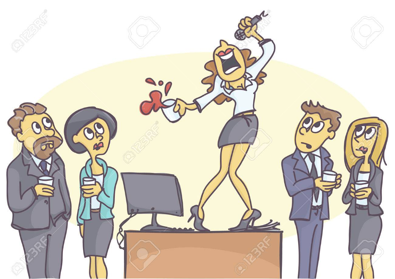 Drunken woman standing on the table and singing karaoke at the office party, coworkers are stunned. - 76356046