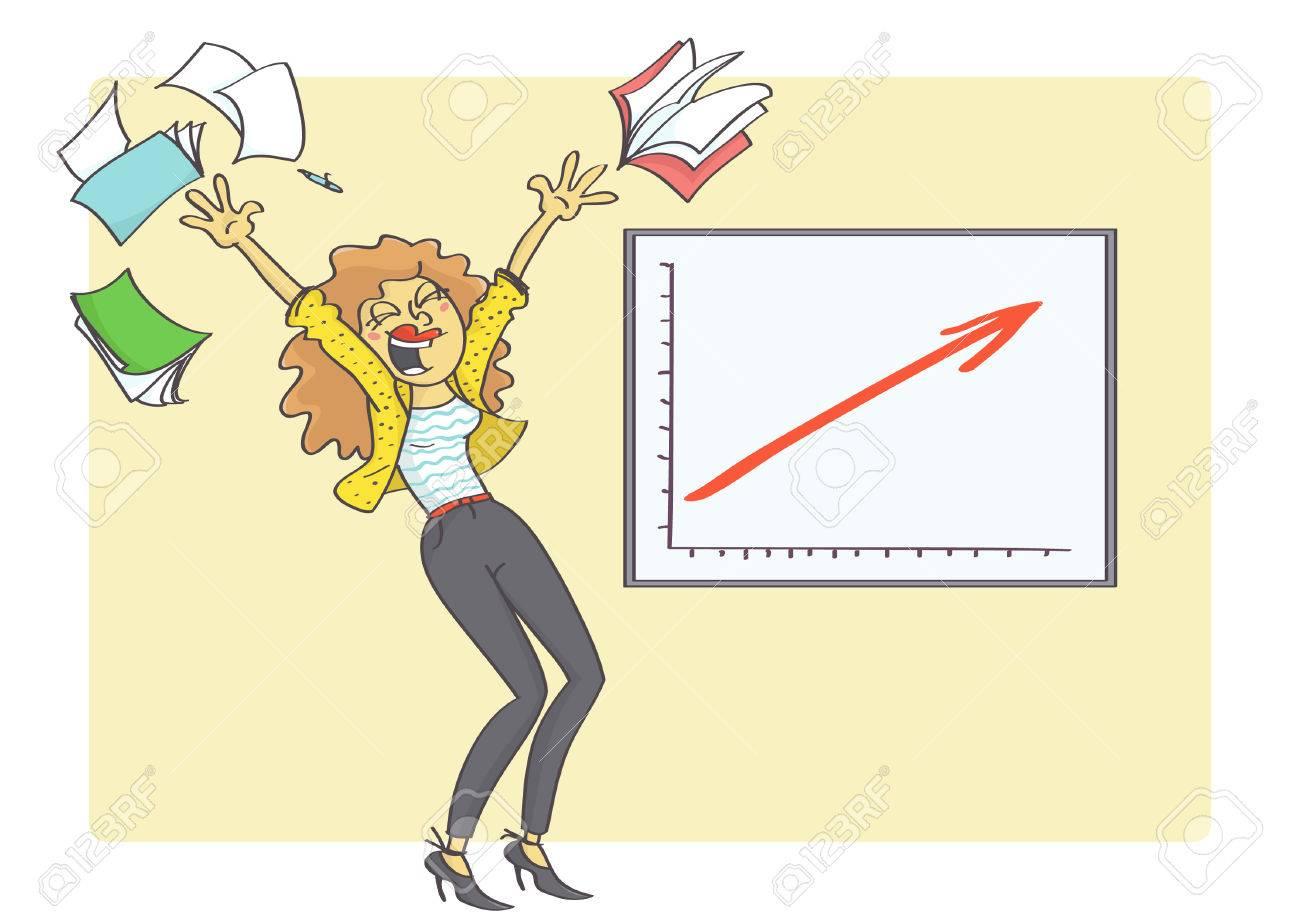 ilustración de dibujos animados de la mujer de negocios overjoyed