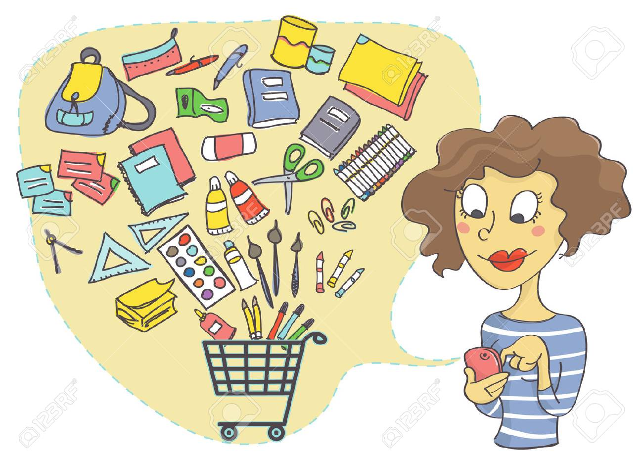 Illustration Of Woman Shopping Online For School Supplies Online