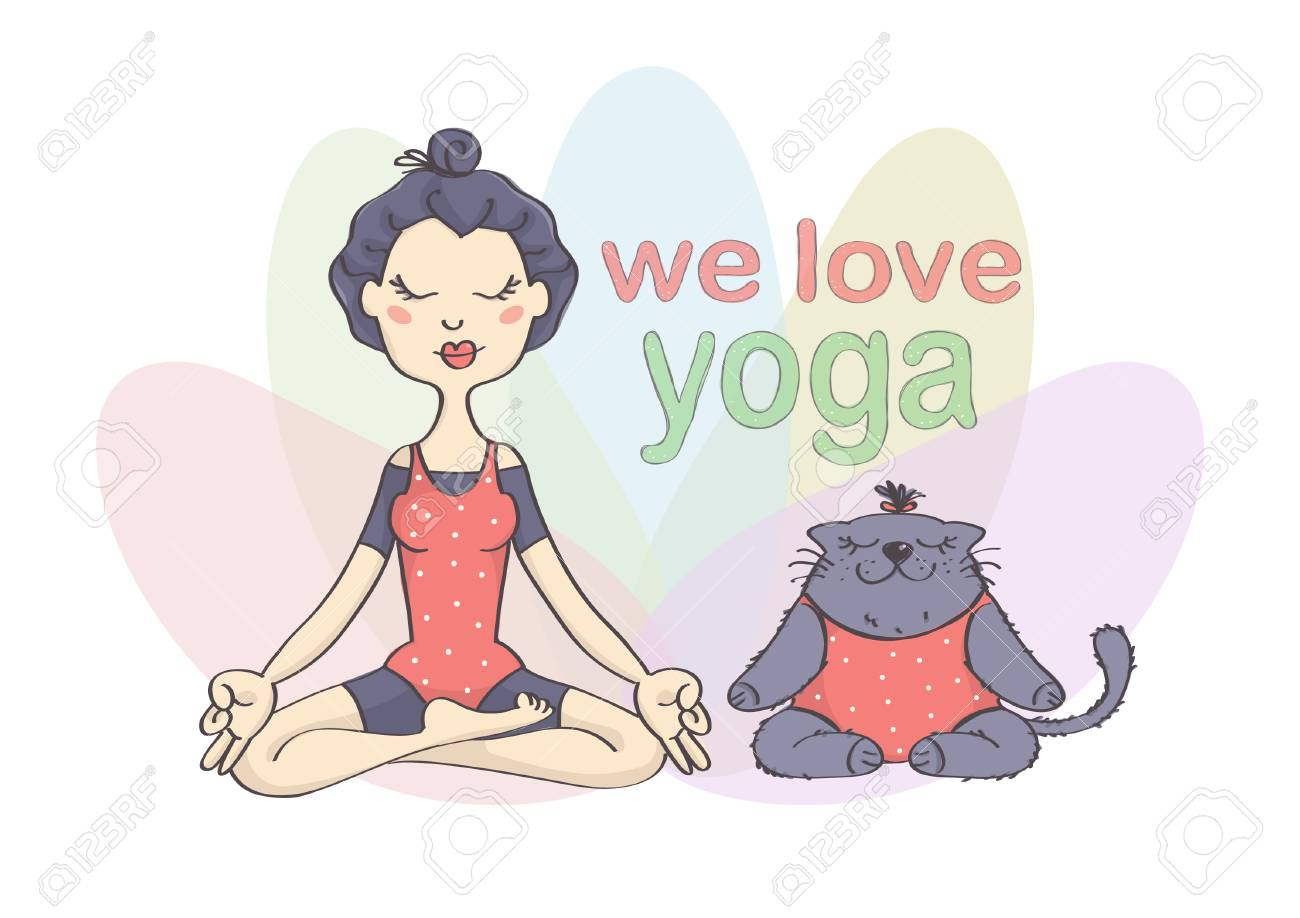Cute Funny Vector Drawing Of Girl And Her Cat Doing Yoga Girl Royalty Free Cliparts Vectors And Stock Illustration Image 82413448