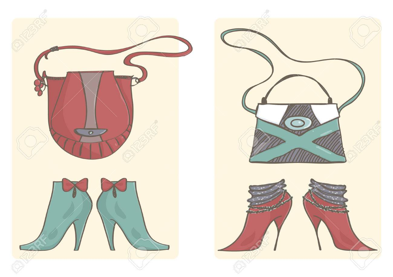 0fc89d8c89 Two sets of handbags and high heels boots. Colorful vector collection of  female shoes and