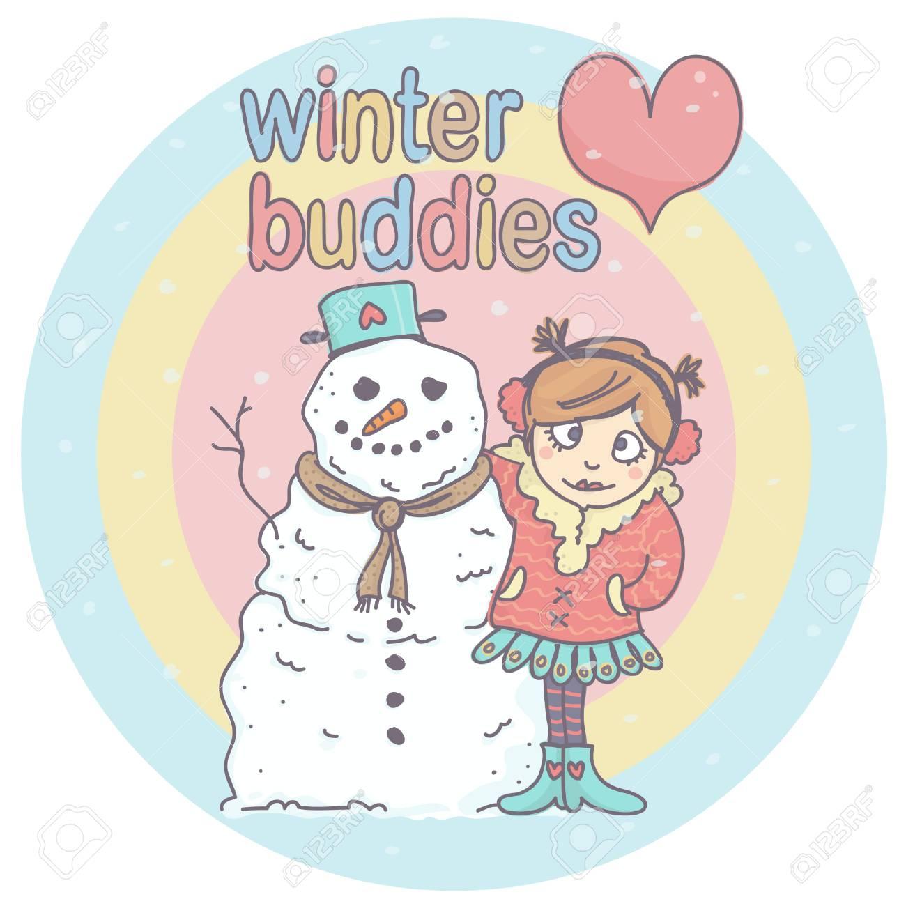 Menina Bonito Do Inverno Que Abraca O Boneco De Neve Tudo No