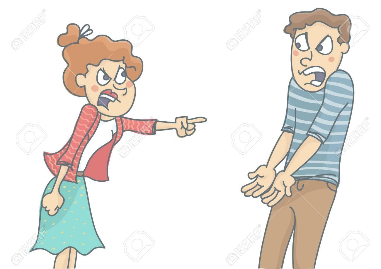 若い女と男喧嘩で叫んで、お互いに叫ぶ。ホワイト バック グラウンド分離