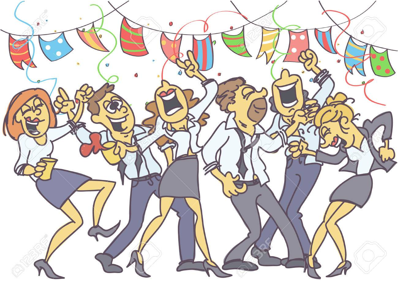 Office party with coworkers dancing, singing and celebrating. - 82511002