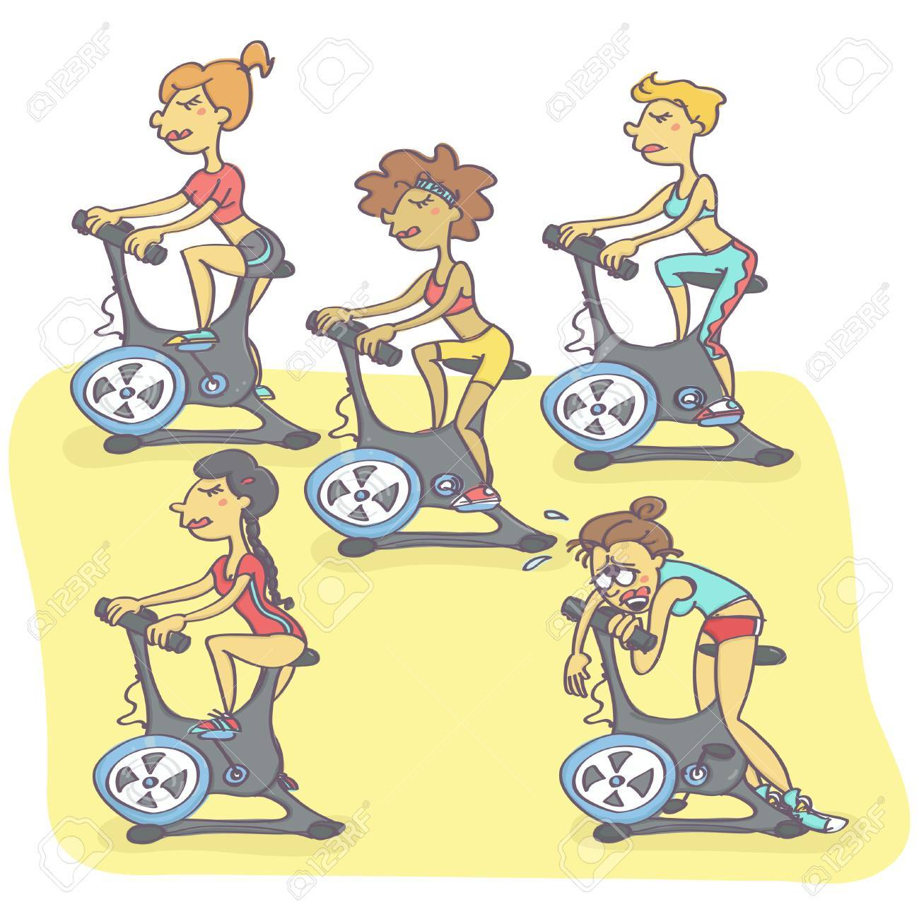 Funny Vector Cartoon With Group Of Women Exercising On Stationary Royalty Free Cliparts Vectors And Stock Illustration Image 82565679