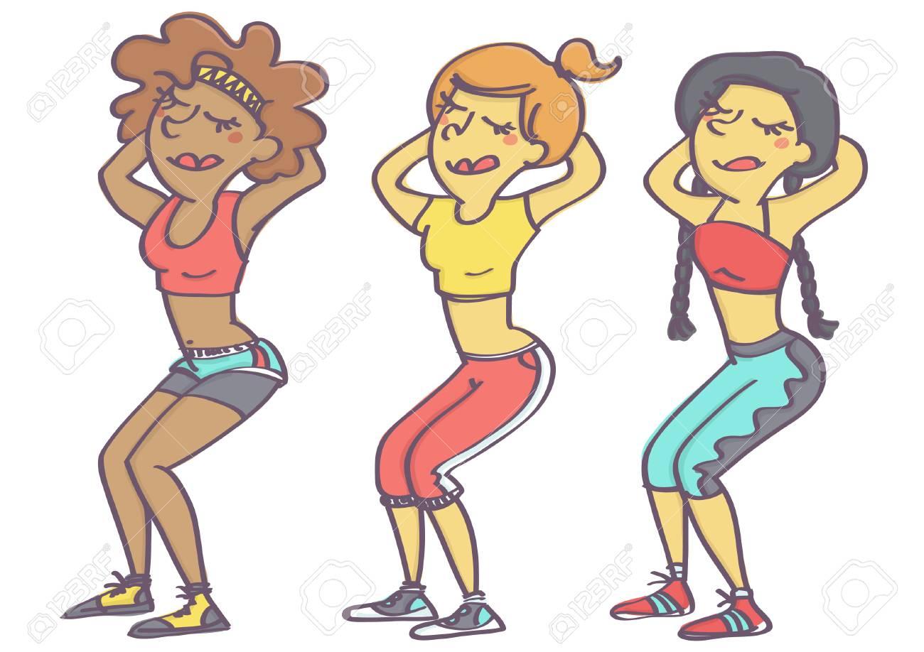 Ensemble De Trois Femmes Faisant Des Squats, Dessin Animé Mignon Vecteur Coloré Clip Art Libres De Droits , Vecteurs Et Illustration. Image 82607762.