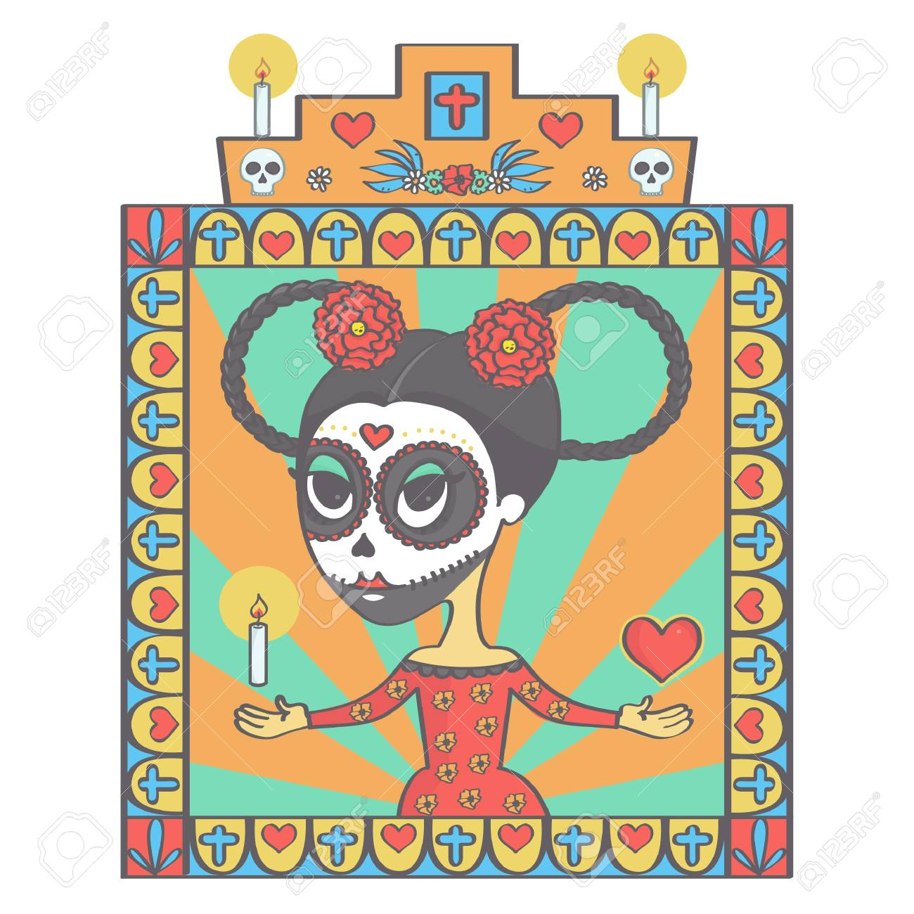 Linda Mujer De Calavera De Azúcar En El Estilo Mexicano De Halloween
