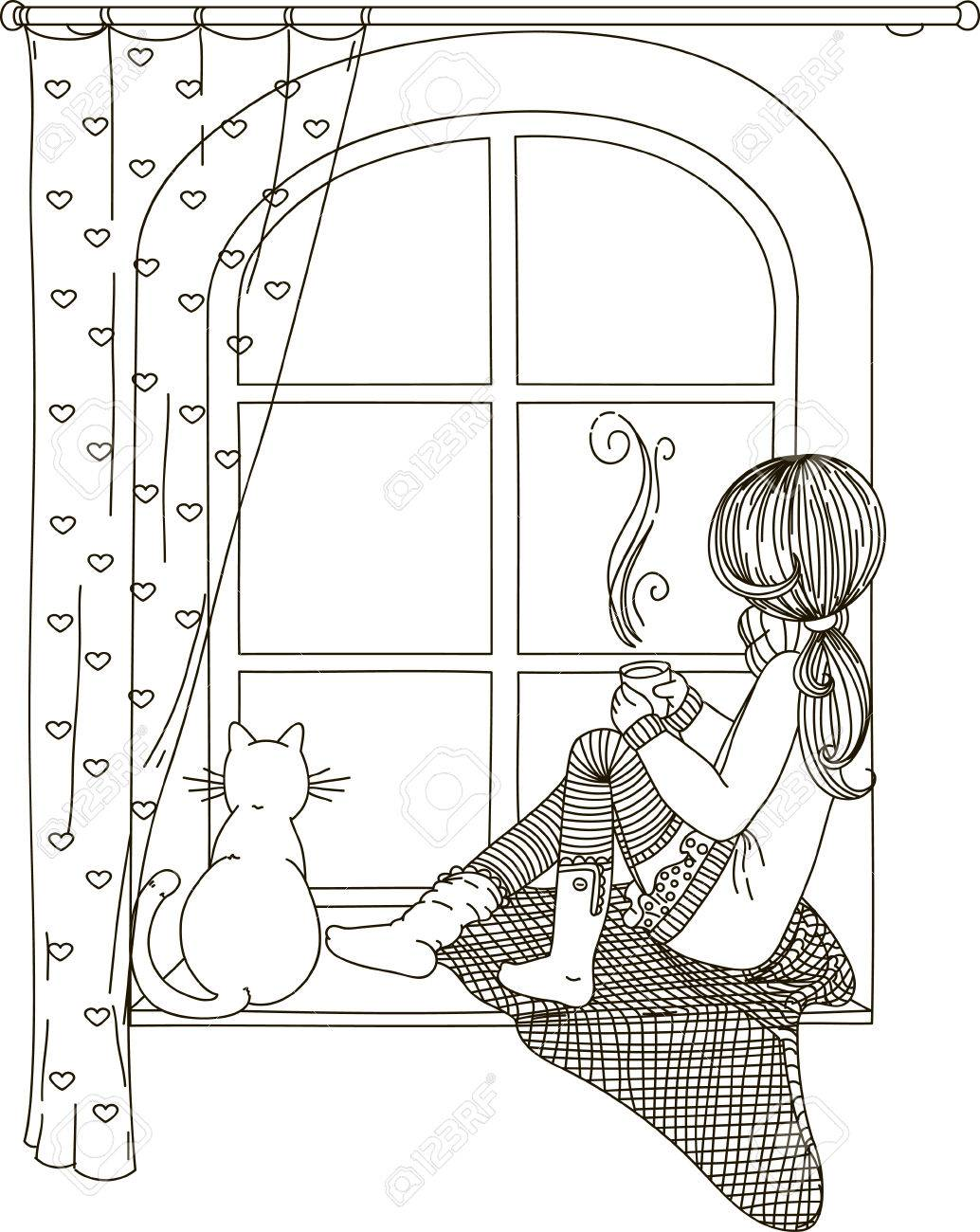 The girl is sitting on the windowsill looking out the window black and white drawing coloring book the girl is sitting on the windowsill looking out the window with the cat in thecheapjerseys Gallery