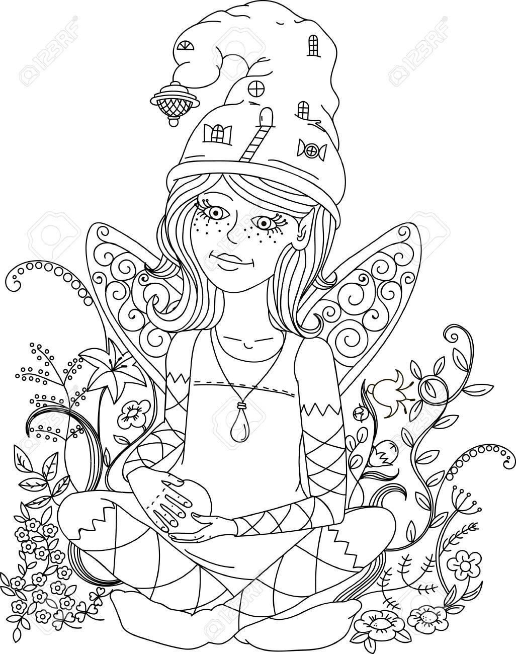 Beautiful Fashion Woman With Flowers In The Image Of A Fairy ...